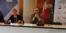 Fabienne Buccio, préfète de région, et Daniel Habold, directeur de la santé publique à l'ARS, le 13 mars 2020.