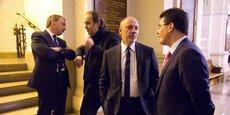 De gauche à droite: Alain Weill (PDG d'Altice France/SFR), Xavier Niel (propriétaire d'Iliad/Free), Stéphane Richard (PDG d'Orange) et Olivier Roussat (DG délégué de Bouygues et président du conseil d'administration de Bouygues Telecom).