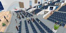 Simulation 3D du Laval Virtual World accessible en ligne du 22 au 24 avril prochain.