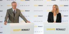 Jean-Dominique Senard (président du conseil d'administration) et Clotilde Delbos (directrice générale adjointe) de Renault ont annoncé un plan de transformation du constructeur automobile.