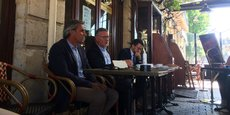 Laurent Tournier, Patrick Seguin et Fabien Robert, en terrasse, place Pey-Berland à Bordeaux