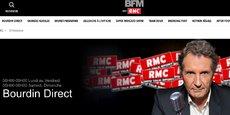 La page d'accueil du site de l'émission Bourdin Direct, la matinale animée par Jean-Jacques Bourdin sur la radio RMC.