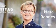 Alors que 68,32% des électeurs ne se sont pas déplacés (46,6% en 2014), Nathalie Appéré, qui faisait front uni avec l'écologiste Matthieu Theurier (EELV), l'a emporté sur un score sans appel de 65,35% des voix, loin devant la candidate LREM Carole Gandon à 17,49% et le candidat divers droite Charles Compagnon à 17,15%.