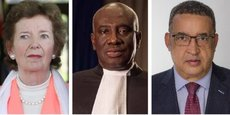 Mary Robinson, avocate et ancienne Présidente de la République d'Irlande; Hassan Bubacar Jallow, juge gambien et Président de la Cour suprême de Gambie; Leonard F. McCarthy, Président de LFMcCarthy Associates et ex- Vice-Président pour l'intégrité à la Banque mondiale.