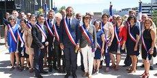Le nouveau conseil municipal de Montpellier sur le parvis de l'Hôtel de Ville le 4 juillet 2020.