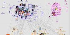 Extrait d'une infographie permettant de visualiser la myriade de connexions entre utilisateurs de Twitter ayant tweeté le mot algorithme à un instant t [ pour voir l'image originale: https://www.flickr.com/photos/marc_smith/5682971310 ]