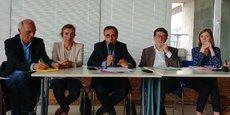 Stéphane Delpeyrat, maire de Saint-Médard-en-Jalles, Claudine Bichet, 1ere adjointe au maire de Bordeaux, Pierre Hurmic, maire de Bordeaux, Alain Anziani, maire de Mérignac et Christine Bost, maire d'Eysines.