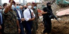 Emmanuel Macron en visite au Liban le 6 août 2020, deux jours après la double explosion qui a dévasté (le 4 août) le port de Beyrouth et une partie de la capitale, faisant au moins 180 morts et 6.000 blessés. Le président français doit se rendre à nouveau au Liban dans quelques jours, le mardi 1er septembre.