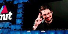 Edward Snowden, en direct mais sur écran au Web Summit de Lisbonne, le 4 novembre 2019.