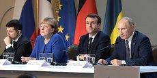 Les chefs d'Etat ukrainien, allemand, français et russe lors du Sommet Format Normandie le 9 décembre 2019. Ce vendredi, une réunion doit se tenir entre les conseillers diplomatiques de ces pays pour discuter de la guerre du Donbass, selon les informations de plusieurs médias russes et anglais.