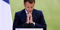 Le président Emmanuel Macron prononce un discours lors d'une réunion avec les membres de la Convention citoyenne sur le climat (CCC) pour discuter des propositions environnementales à l'Elysée à Paris, France, le 29 juin 2020.
