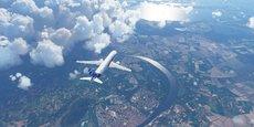 Un A320 Neo survolant Montpellier dans Microsoft Flight Simulator développé par Asobo Studio à Bordeaux.