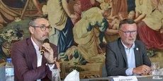Rodolphe Lameyse, à gauche, et Patrick Seguin le lundi 14 septembre à la CCI Bordeaux Gironde lors de l'annonce de la naissance de Vinexposium.