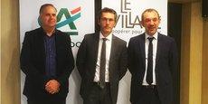 Olivier Chalon, représentant Inovexus, Thierry Boulbès, directeur général adjoint du Crédit Agricole du Languedoc, et Laurent Sassus, directeur du Marché entreprises et partenariats du Crédit Agricole du Languedoc.