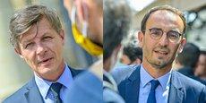L'ancien maire de Bordeaux, Nicolas Florian (Bordeaux Ensemble), et Thomas Cazenave (Renouveau Bordeaux), nouvel élu au conseil municipal, pilotent chacun un groupe d'élus d'opposition.