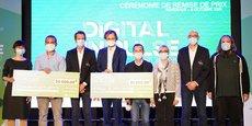 Les dirigeants de Solikend et de Meditect entourés des représentants de Huawei et de French Tech Bordeaux.