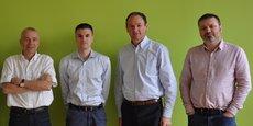 De gauche à droite - Henri SORS (COO), Julien LEGUY (CTO), Gilles du SORDET (CEO), Laurent HEUX (Scientific advisor).