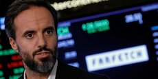 Jose Neves, le Pdg de Farfetch, lors de l'introduction en Bourse de sa startup britannique à la Bourse de New York (NYSE) le 21 septembre 2018.