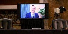 Mark Zuckerberg, patron et cofondateur de Facebook, lors de son audition par visioconférence mardi devant le Sénat américain concernant les règles de modération de son réseau social.