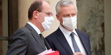 Le Premier ministre français Jean Castex et le ministre de l'Économie et des Finances Bruno Le Maire, hier mercredi 25 novembre 2020, sur le perron de l'Élysée à la sortie de leur réunion hebdomadaire.