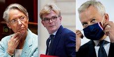 Dans l'ordre, de gauche à droite : Élisabeth Borne, ministre du Travail, Marc Fesneaux, ministre des Relations avec le Parlement et Bruno Le Maire, ministre de l'Économie.