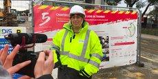 Marianne Laigneau, présidente du directoire d'Enedis, en visite sur le chantier de la ligne 5 de tramway à Montpellier.