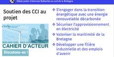 Motion en faveur du parc éolien de Saint-Brieuc : près de 10 ans après le lancement du projet, le parc n'est toujours pas en activité, rappelle la CCI Bretagne.
