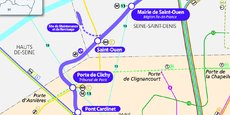Pont Cardinet et porte de Clichy dans le XVIIème arrondissement de Paris, ainsi que Saint-Ouen et Mairie de Saint-Ouen sont les nouvelles gares de la ligne 14 du réseau de métro parisien.