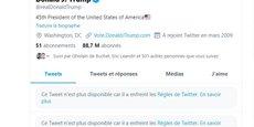Jusqu'à présent, Twitter par exemple publiait seulement un message d'avertissement sur la véracité du contenu, mais estimait que les propos de Donald Trump, même faux, relevaient de l'intérêt général de par sa fonction de président des Etats-Unis.