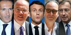 De gauche à droite: Patrick Drahi (Altice/SFR), Stéphane Richard (Orange), Emmanuel Macron, Xavier Niel (Iliad/Free) et Martin Bouygues (Bouygues Telecom).