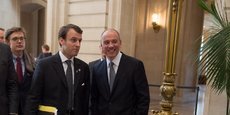 Emmanuel Macron, alors secrétaire général adjoint de l'Elysée, et Stéphane Richard, le PDG d'Orange, le 12 février 2014, à San Francisco.
