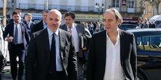 Stéphane Richard, le PDG d'Orange, et Xavier Niel, le fondateur et propriétaire d'Iliad (Free).