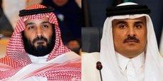 De gauche à droite, le prince héritier saoudien Mohammed ben Salmane et l'émir du Qatar Tamim bin Hamad Al-Thani.