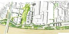 Visuel du futur jardin de l'Ars, du futur pont Simone Veil et du réaménagement des quais.