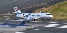 Le Falcon 6X lors du vol inaugural opéré depuis l'aéroport de Bordeaux-Mérignac le 10 mars 2021