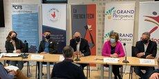 Natalia Hérault, Olivier Defaux, Philippe Metayer, Colette Langlade et Julien Anselme, à l'occasion de la présentation officielle de French Tech Périgord Valley, le 16 mars 2021 à Périgueux.