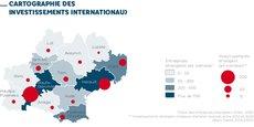 Cartographie des investissements étrangers en Occitanie en 2020, selon les données Business France.