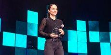 Marine Billis, la cofondatrice de Teebike, au Grand Rex de Paris, le 29 mars 2021, lors de la cérémonie de remise des prix du concours 10.000 startups pour changer le monde, organisé par La Tribune.