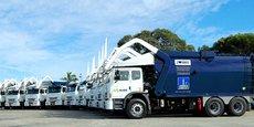 Photo d'illustration: la flotte de camions siglés Suez pour la collecte et le recyclage de déchets de la ville de Brisbane. Suez a signé avec la ville un nouveau contrat de 900 millions de dollars couvrant la période de 2018 jusqu'en 2033.