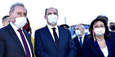 Jean-Luc Moudenc, Jean Castex et Carole Delga étaient réunis, samedi 24 avril, sur le chantier du futur téléphérique urbain de Toulouse.