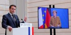 Photo d'illustration : le président français Emmanuel Macron et la chancelière allemande Angela Merkel lors d'une vidéoconférence franco-allemande du Conseil de sécurité à l'Élysée à Paris, France, le 5 février 2021.