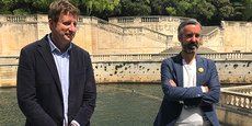 Yannick Jadot et Antoine Maurice à Nîmes, le 4 mai 2021, pour présenter les représentants gardois de la liste EELV aux régionales en Occitanie.