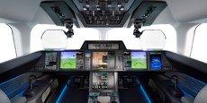 Des écrans tactiles et des commandes de vol numériques équiperont le cockpit du Falcon 10X de Dassault Aviation.