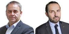 Si le président sortant, Xavier Bertrand (à gauche), soutenu par la droite, est donné gagnant dans les sondages, il est talonné par le candidat du Rassemblement national, Sébastien Chenu.