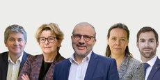 De gauche à droite, Gilles Platret (LR), Marie-Guite Dufay (PS), Denis Thuriot (LREM-MoDem), Stéphanie Modde (EELV) et Julien Odoul (RN).