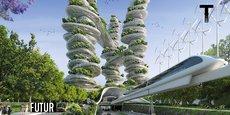 Projet Paris 2050 - Ferme verticale rapatriant la campagne aux portes de la ville - Porte d'Aubervilliers Paris19e par VIncent Callebaut Architectes