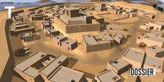 Il faut remonter aux environs de 4 000 ans avant notre ère pour trouver les origines de la première véritable cité répertoriée comme telle, la ville d'Uruk, située entre le Tigre et l'Euphrate, au cœur de l'ancienne Mésopotamie. Ici, l'antique cité en 3 000 av. J.-C., image 3D réalisée par une équipe de chercheurs de Western Sidney University.