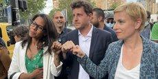 De gauche à droite: Audrey Pulvar, Julien Bayou et Clémentine Autain le 21 juin 2021 à Aubervilliers (Seine-Saint-Denis).