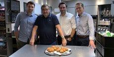 Les propriétaires des franchises de McDonald's à Toulouse étaient réunis, mercredi 7 juillet 2021, pour célébrer l'arrivée de Vincent Clerc dans leurs rangs. Sur la photographie, de gauche à droite : Vincent Clerc, Michel Réglat, Paul Sécail et Alexandre Laporte.