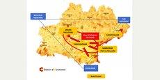 La démarche Coeur d'Occitanie veut développer l'axe qui relie Toulouse à la mer, dans le triangle d'or qui relie l'Aquitaine, la Provence et la Catalogne, des régions prospères et actives.